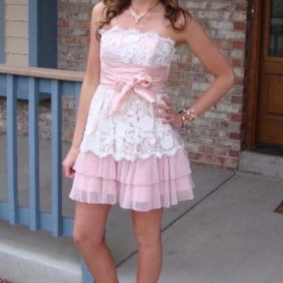 Betsey Johnson Lace Tulle Ruffle Dress Pinkwhite